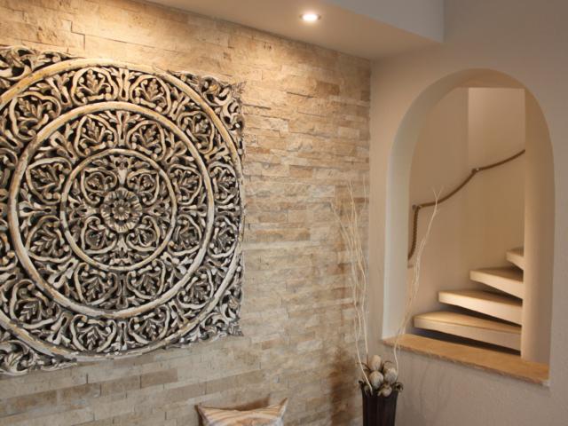 Raumgestaltung Mauerverblender - Zuschnittarbeiten -Travertin-Cremo-Medium-Fine-Line
