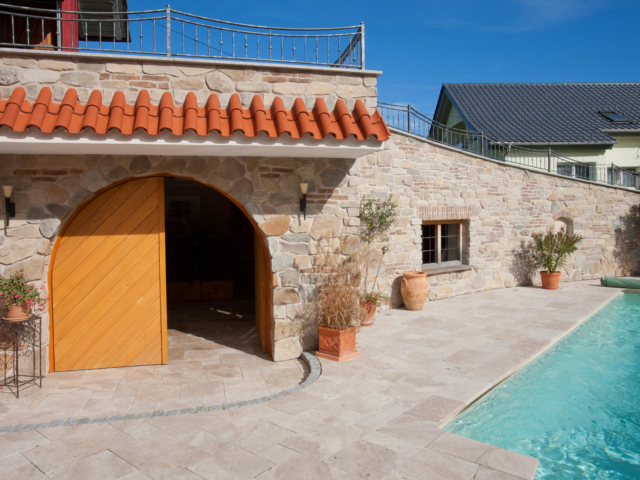 Terrassen Platten - Travertin Walnut Noce Fine Line