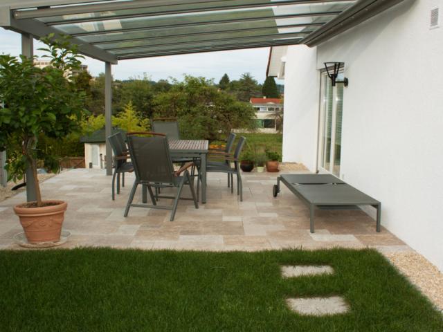Travertin-Terrassenplatten Walnut Noce Fine Line