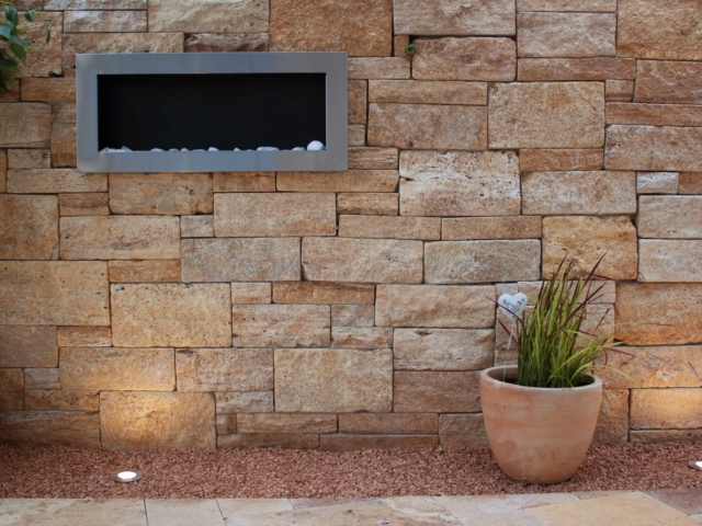 Systemmauer Travertin Ordon Gold Fine-Line