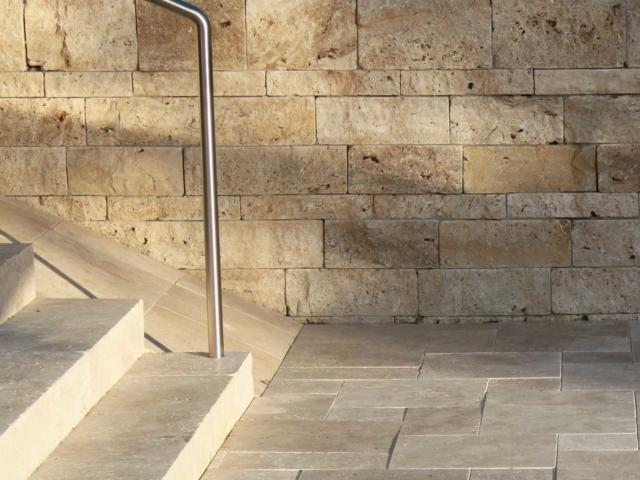 Systemmauer Travertin Cremo Fine-Line