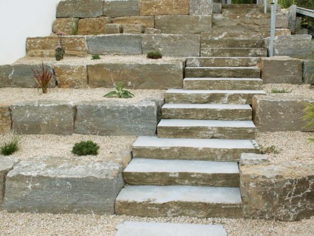 Muschelkalk Stufen Quader Polygonalplatten
