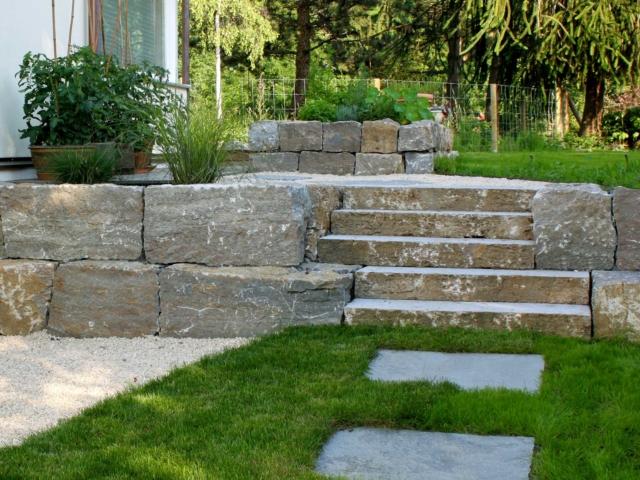 Muschelkalk Stufen, Quader und Polygonalplatten
