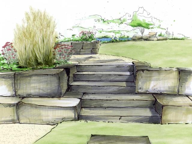 Gartenplanung Muschelkalk Stufen & Sitzsteine